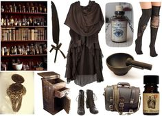 Apothecary Witch by maggiehemlock featuring Fountain Phase Eight dress, $87 / Viktor Rolf brown shrug / Over-the-knee socks / Black boots / Vintage jewelry / Perfume fragrance / Fountain...