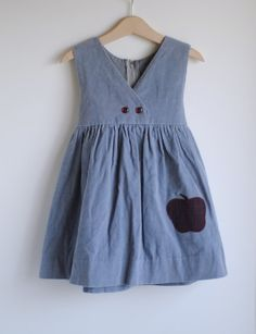 Vintage Little Girl Jumper Gray Corduroy APPLE 4T by HartandSew