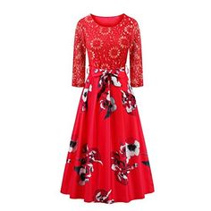Women's Vintage 1950s Style 3/4 Sleeve Lace Dress Flare Flower Printed A-line…