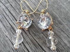 Handmade Earrings-Barely Blue with Faceted Crystals on Glod Plated Hooks by JoeisStuff on Etsy