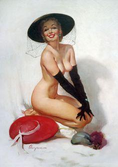 """Gil Elvgren - """"Untitled"""" 1960's"""