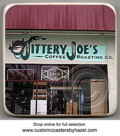Jittery Joe's, Athens, Georgia, UGA. Atlanta Landmark Marble Stone Coaster. Mix and Match With My Other Coasters To Make A Set..