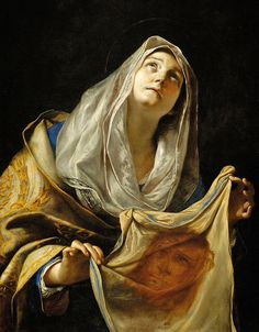 Attributed to Piero di Cosimo (Italian artist, Saint Veronica, c. 1510 Legend holds that Saint Veronica was a pious woman o. Catholic Art, Catholic Saints, Religious Art, Roman Catholic, Veil Of Veronica, St Veronica, Caravaggio, Patron Saints, Religious Pictures