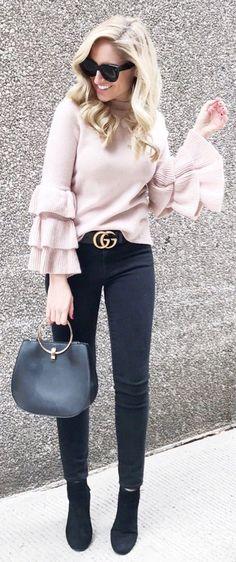 Pink Knit / Black Skinny Jeans / Black Suede Booties