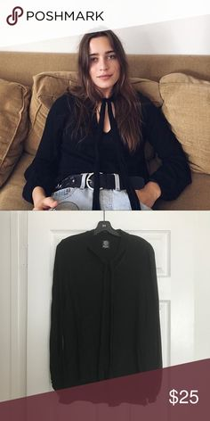 BLACK NECK TIE BLOUSE Worn a few times and still in great condition. Bobeau Tops Blouses