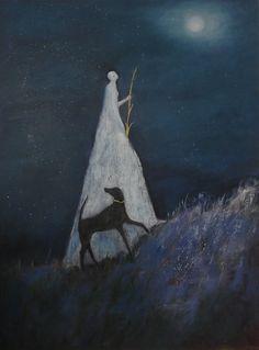 Another Night Journey, Jeanie Tomanek. (Source - Her Site: Jeanie Tomanek ) Art And Illustration, Photo Chat, Wow Art, Nocturne, Fine Art Paper, Art Inspo, Fairy Tales, Fine Art Prints, Images