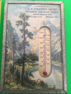 Vintage Framed Advertising Wall Thermometer LP Strachota Agency Milwaukee, Wis  | eBay
