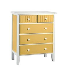 Yellow and White Cottage Dresser via The Beach Look. Click on the image to see more!