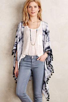 Tasseled Silk Kimono - anthropologie.com
