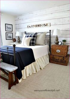 Simply beautiful farmhouse master bedroo 83