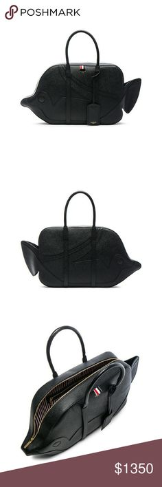d58c3f2103 Thom Browne Tiger Reef Fish Bag Black Leather Black leather 'Tiger Reef Fish'  bag
