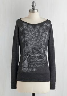 Novel Tee Sweatshirt in Elizabeth. Your literary knowledge already makes you a captivating conversationalist, but with help from this cozy, heather-grey sweatshirt by Out of Print, your style can be just as smart! #grey #modcloth