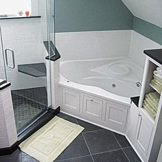 Master Bath With Granite Countertops Standup Shower With A Shelf Stunning Small Bathroom Corner Tub Inspiration