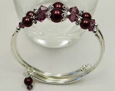 Items similar to Memory Wire Bracelet, Tan Swarovski Crystals, Peach Glass Pearls, Double 2 Strand, Wedding, Bridal, Bridesmaid, Silver on Etsy