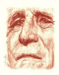 Portrait de Léo ferré, sanguine , portrait original à la sanguine : Dessins par philippeflohic