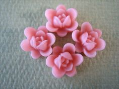 4PCS  Summer Collection  Mini Lotus Flower Cabochons  by ZARDENIA, $1.20