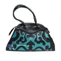 Leaders in Leather Scroll Cutout Satchel | Retro Inspired Handbag | Black Turquoise