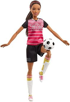 "Barbie soccer player doll features extra flexibility for extra-cool moves — 22 ""joints"" in the neck, upper arms, elbows, wrists, torso, hips, upper legs, knees AND ankles allow an incredibly realistic range of movement! She's ready to head to the field in a soccer uniform with pink and white stripes on her numbered top, a matching number on her black shorts, striped shin guards, a black headband and white and pink sneakers. Barbie Careers Made to Move Soccer Player Doll. toys4mykids.com"