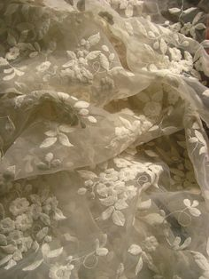 off white Lace Fabric organza lace fabric Embroidered by QFabrics