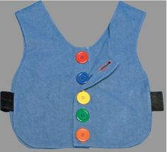 This color coded buttoned vest would be a good way to work on sequencing praxis skills because it allows the child to repeat a series of hand and finger movements to complete a functional task. Pediatric Occupational Therapy, Pediatric Ot, Motor Activities, Buttonholes, Dressing, Vest, Coding, Therapy Ideas, Fine Motor