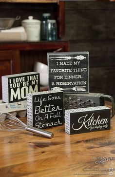 Kitchen Decor Box Signs.