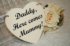 Shabby Chic Daddy, Here Comes Mummy Uncle Sign Heart Chair Signs Photography Props Rustic Wood Wedding Ring Bearer Flower Girl