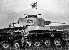 "fujisan-ni-noboru-hinode: ""A tank commander of the Imperial Japanese Army 26th Tank Division, posing with his Shinhoto Chi-Ha on Iwo Jima, 1944. """