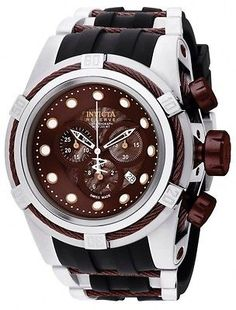 Invicta Reserve Bolt Zeus Swiss Chronograph Brown Dial Polyurethane Strap 0830