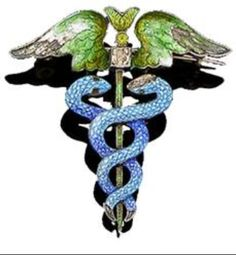 An enamel caduceus brooch by Child & Child, circa 1900, with green guilloché enamel wings on either side of a cushion-shaped paste above blue enamel entwined snakes.