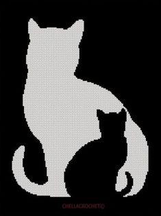 Kitten in Cat Silhouette Black White Afghan