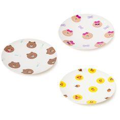 Line Friends Official Goods 3P Melamine Plates Set Brown Sally Choco  Dish M #LineFriends