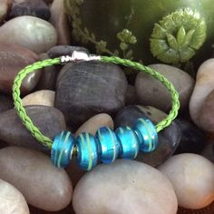 SALE  Bracelet bright green with 5 beautiful blue glass beads. Handmade and offered by HappyLilac on ETSY
