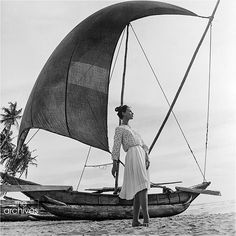 Ceylon - one of the 11 countries to become a location for fashion photography for Harper's Bazaar in 1958! This first series of prints '25 days 11 countries' taken in 1958 was the first and last of its kind to celebrate the inaugural flight of the Boeing 707. Photographer Gleb Derujinsky took his wife & celebrated model Ruth Neumann on the journey of a lifetime from Victoria Harbor and Kowloon, Hong Kong, Ceylon, Jaipur and New Deli, India, Nara, Japan and Athens, Greece.