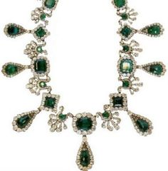 This magnificent diamond and emerald necklace, worth over 3 million dollars, features 191 carats of emeralds and 16 carats of diamonds. The emeralds used are found in Colombia and are the highest quality.