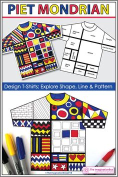 These abstract printable Mondrian coloring pages provide the ideal famous artist art lesson for kids to do in the classroom. These creative, Mondrian T-shirt templates help children explore primary colors, shape, line and pattern elements in a fun, experimental way. The finished artworks make super classroom displays and decorations for the bulletin board. Click on the link to view and download this easy to use, print and go activity pack. Art Videos For Kids, Art Lessons For Kids, Art For Kids, Line Art Lesson, Art Lesson Plans, Preschool Art Projects, Art Activities, Piet Mondrian, Classe D'art
