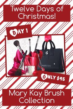Offering 12 Days of Christmas EARLY!!! Perfect Christmas Gift for YOU is our Mary Kay Brush Collection!! Will literally change your life!! No joke!! Plus you get a FREE make up bag with purchase!! Only $45 for the next 24 hrs. Order at http://www.marykay.com/mandy.manning