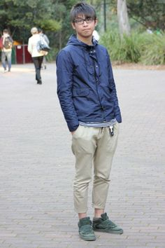 Great jacket and mixing of textures with a casual pair of chinos.