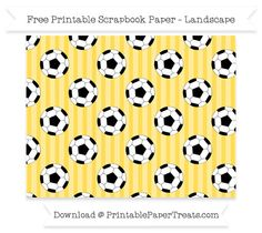 Landscape Mustard Yellow Striped Large  Soccer Ball Pattern Paper