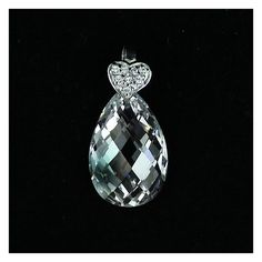Cubic zirconia transparent drop and a silver heart set with transaprent cubic zirconias. Amazingly sparkling