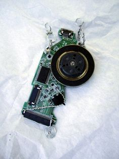 Geek Chic Upcycled Computer Board Spinner Necklace by SoBayBaubles, $8.50