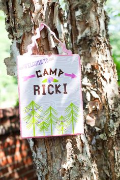 Camping themed birthday party for girls! Via Kara's Party Ideas KarasPartyIdeas.com