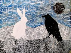 Blizzard: The Hare and the Crow Painting. $160.00, via Etsy.