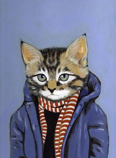 Framed Fine Art Print - Brewster - Cats In Clothes by Heather Mattoon. $35.00, via Etsy.