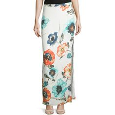 Haute Hippie Floral-Print Column Maxi Skirt (425 CAD) ❤ liked on Polyvore featuring skirts, swan multi, floral maxi skirt, straight maxi skirt, flower print skirt, slit maxi skirt and long skirts