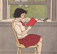 Jane was reading by the classroom window. ill by M. Davis by katinthecupboard, via Flickr