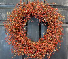 Fall Door Decor   Burnt Orange Berry Wreath  Fall by Designawreath, $53.95