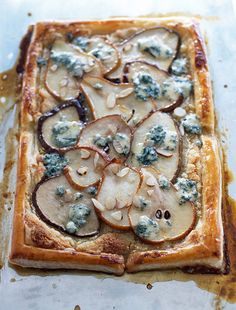 warm pear and blue cheese tart