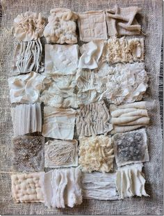 Textiles texture samples using fabric manipulation to achieve different surface effects by gathering, layering and stitching Textile Texture, Textile Fiber Art, Textile Fabrics, Fabric Textures, Textures Patterns, White Fabric Texture, Visual Texture, Textile Artists, Paper Texture