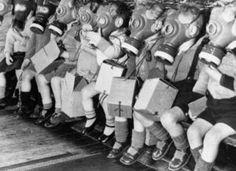 British children in WW2 wth their gas mask