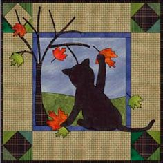 Fall Cat Quilt - there could be a block for each season
